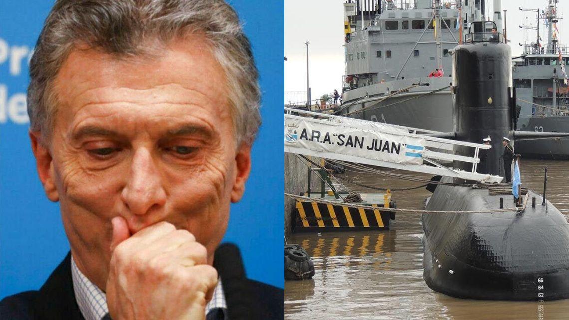 President Mauricio Macri; ARA San Juan submarine, pictured in 2017.
