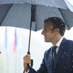 El presidente de Francia, Emmanuel Macron, llega a la cumbre UE-Balcanes Occidentales. | Foto:Jure Makovec / AFP