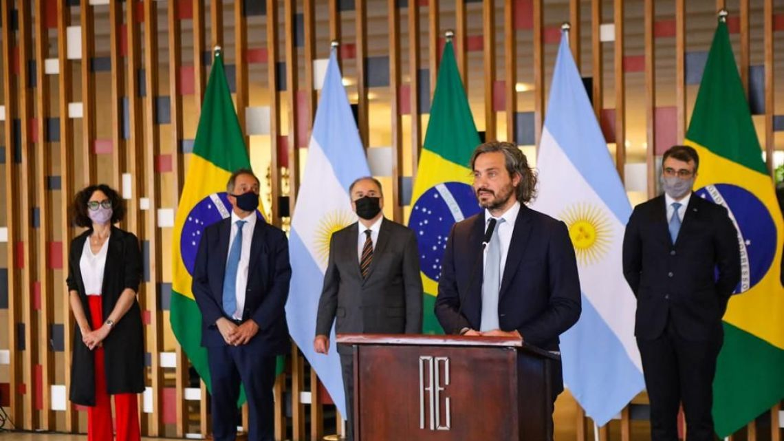 Foreign Minister Santiago Cafiero addresses the press after a meeting with his Brazilian counterpart in Brasilia.