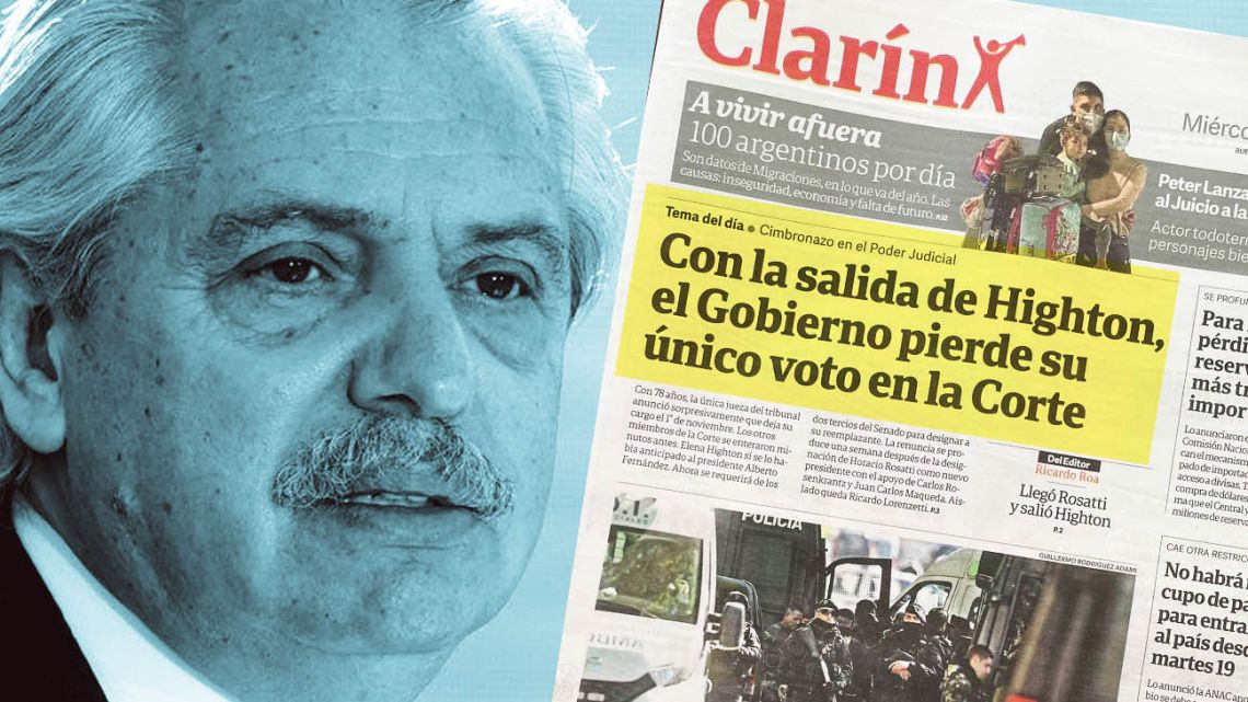 President Alberto Fernández criticised Clarín's frontpage.