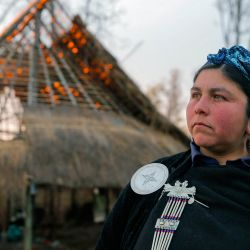 Mapuche Machi Jesica Huentemil, of the Mapuche community Fermín Manquilef, stands at the Freire commune, Araucanía region, Chile on September 27, 2021.