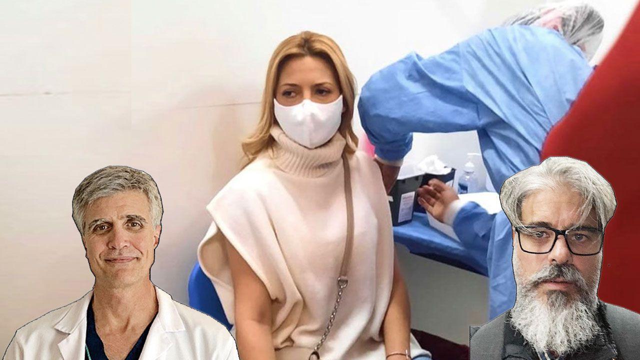 El especialista en fertilidad Antonio Cattaneo (izq) y el obstetra Hernán Jensen (Der) siguen de cerca el embarazo de la primera dama. | Foto:Cedoc.