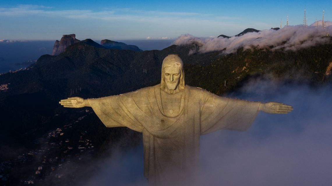File photo taken on March 24, 2021, showing the Christ the Redeemer statue in Rio de Janeiro, Brazil, during sunrise. October 12, 2021, marks the 90th anniversary of the unveiling of Rio's iconic statue.