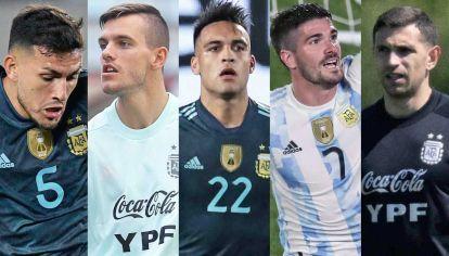 La vanguardia. Leandro Paredes, Giovani Lo Celso, Lautaro Martínez, Rodrigo De Paul y Dibu Martínez representan la piedra fundacional de esta Selección.