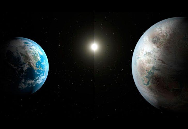El nuevo planeta, comparado con la tierra.
