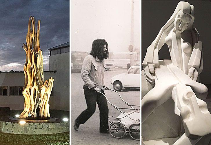 Piedras que componen. En blanco y negro el artista en Brescia (1979), manejando un carro de bebé con su primera escultura en mármol. A la derecha, La piedad (1982), en mármol estatuario de Carrrara.
