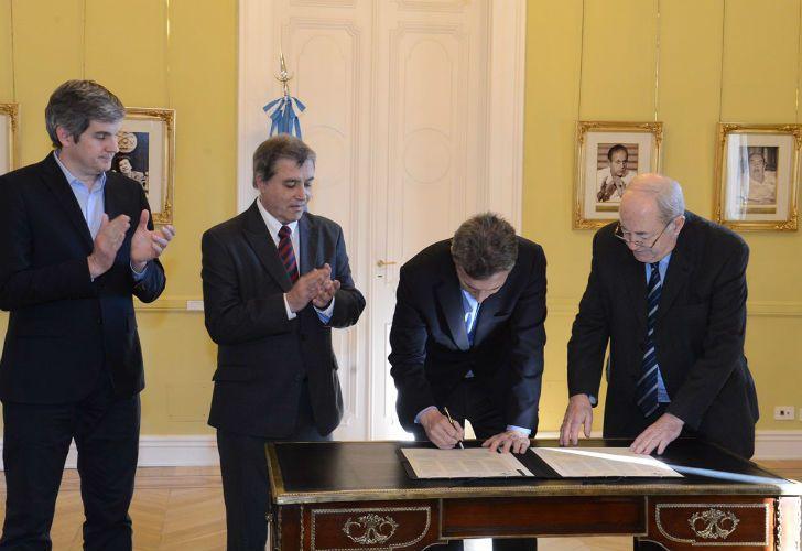 Marcos Peña, Claudio Paolillo, Mauricio Macri y Guillermo Ignacio