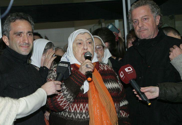 Bonafini en Mar del Plata realizó un breve discurso porque se quedó