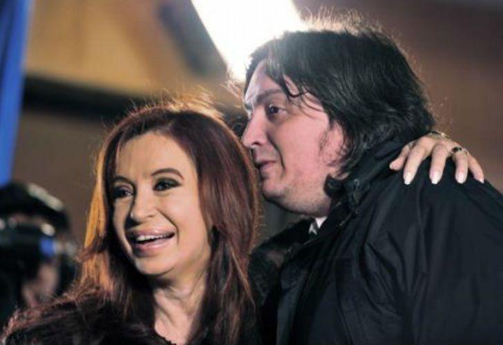La expresidenta Cristina Fernández de Kirchner y su hijo Máximo.