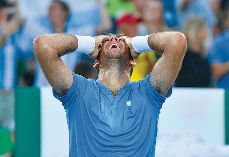 Golpe a golpe. El tandilense y el llanto final, luego de su segundo gran impacto en el torneo. Fue la quinta vez que Delpo le ganó a Nadal en la historia, con ocho caídas. Ahora va por Murray, a quien venció la última vez que chocaron, en 2013.