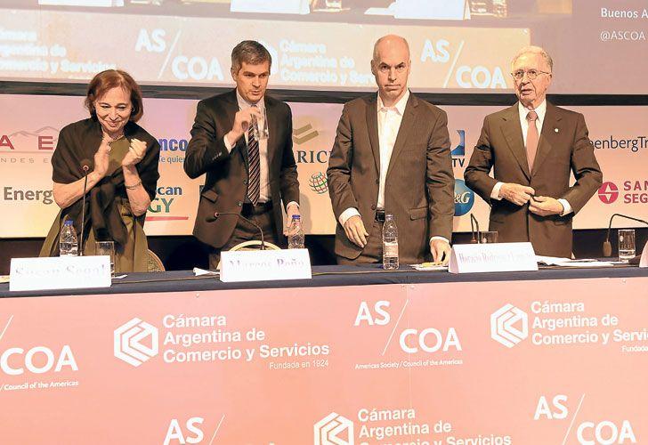 Paciencia 2016. Rodríguez Larreta y Peña dejaron mensajes de optimismo. Jorge Di Fiori, presidente de la Cámara de Comercio, reclamó por la caída de la actividad en la apertura de evento anual.