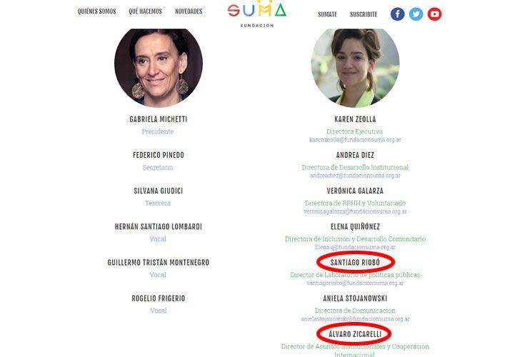 La página oficial de la Fundación SUMA muestra a todos los funcionarios del PRO involucrados y a los dos integrantes del staff que tienen contratos con el Senado.