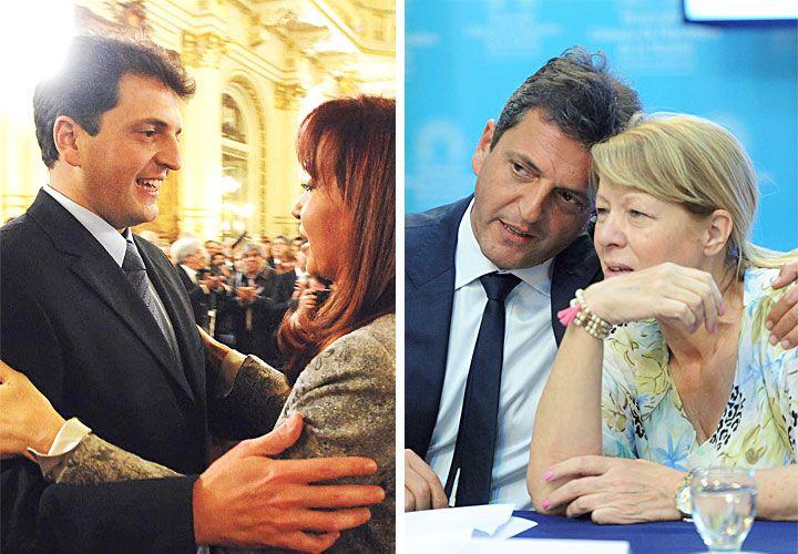 Abrazador. Massa con Cristina Kirchner y con Margarita Stolbizer.