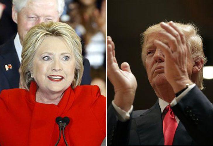 Izquierda: Hillary Clinton. Derecha: Donald Trump