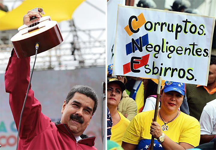 Guitarrero. Mientras el antichavismo intenta ganar las calles para forzar a un revocatorio, Maduro mantiene la costumbre de cantar para el público en sus actos.