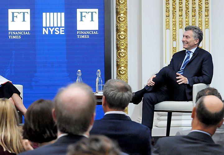 FAVORITO. Macri, el lunes pasado, en un seminario exclusivo que le preparó el Financial Times.