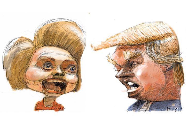 Hillary Clinton y Donald Trump por Pablo Temes.