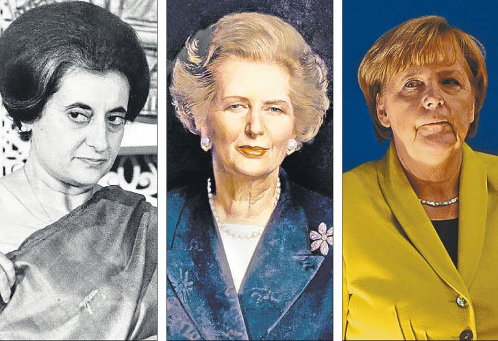 Ellas. Indira Gandhi, Margaret Thatcher y Angela Merkel, figuras emblemáticas.