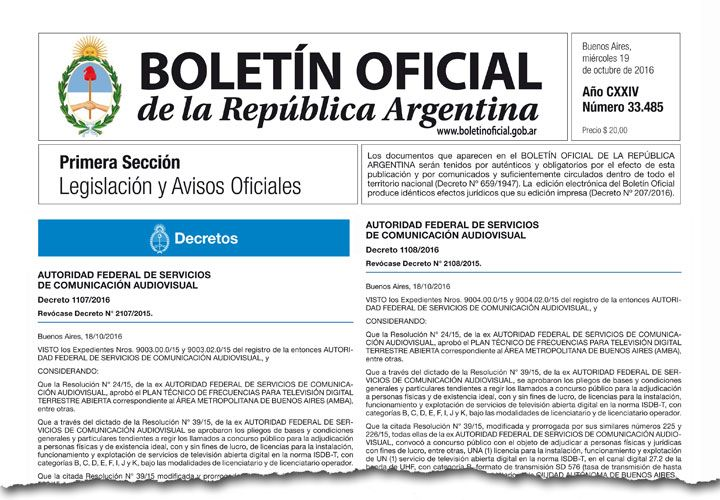 Los dos decretos para los dos canales, firmados por Macri, Peña y Aguad.