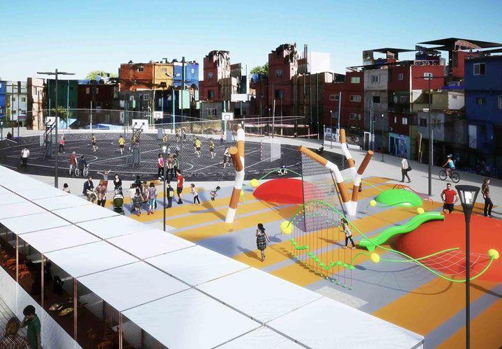 renders. Con un estilo similar a los puestos de Plaza Francia, así proyectan que quedarán los 350 de la feria de productos en el asentamiento de Retiro. También crearán un área de juegos y peatonales.