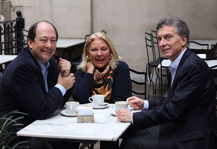 Sanz, Carrió y Macri. Relanzamiento de Cambiemos.