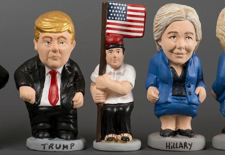 Muñecos Hillary y Trump