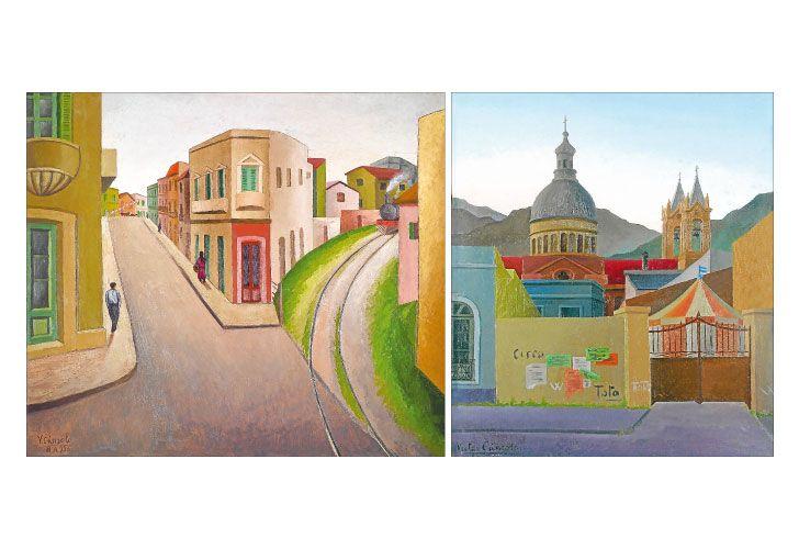 Pliegues en linea. Calle Magallanes (calle de La Boca), 1930, óleo s/cartón (70 x 80 cm); Paisaje de La Rioja, 1937, óleo s/hardboard (69 x 58 cm).