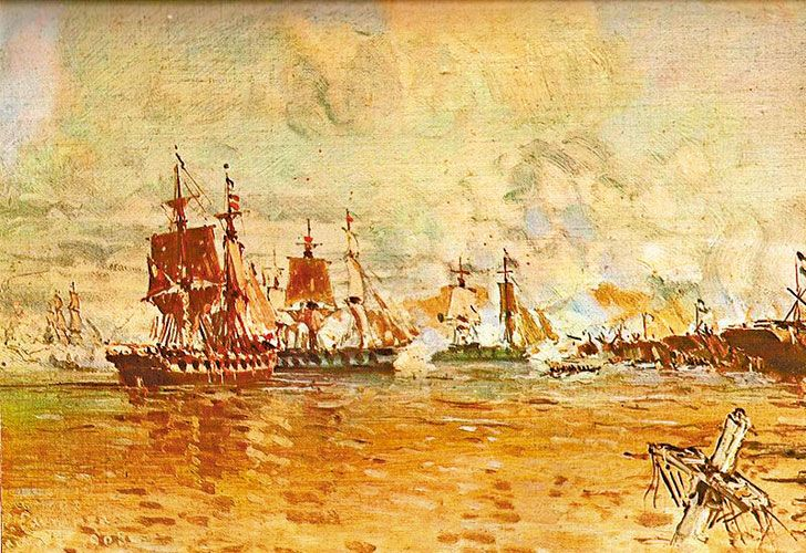 Combate. Fue en 1845, contra las dos más grandes potencias económicas, políticas y bélicas de la época, Gran Bretaña y Francia.