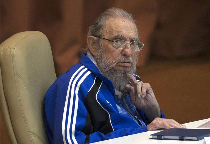 Fidel Castro el 19 de abril de 2016 durante el discurso que habló de su longevidad.