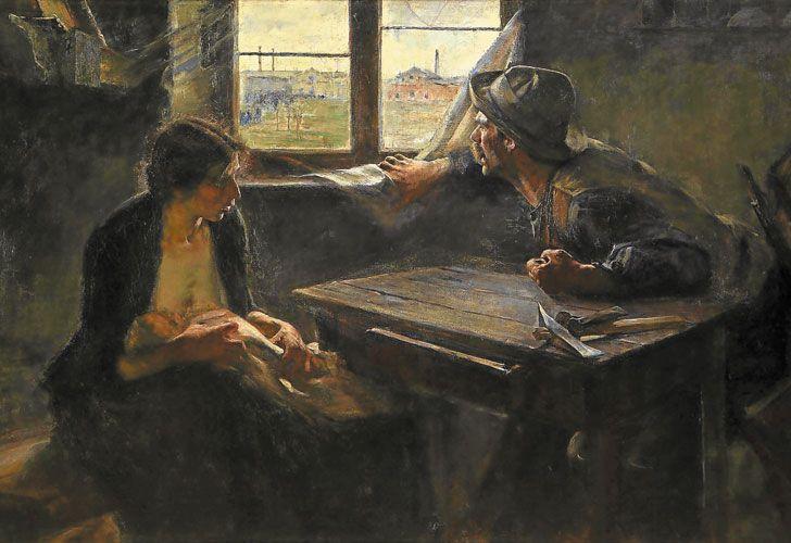 Majestuoso. Sin pan y sin trabajo (1894), óleo sobre tela, 125,5 x 216 cm, obra cumbre del artista. Nunca volvió a pintar igual.