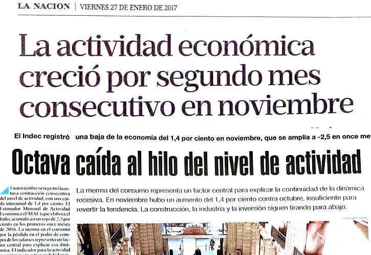 VISIONES. La Nación y Página/12 eligen dos enfoques para el mismo indicador económico.