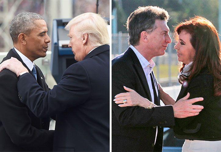 Pares antagónicos:  Trump y Obama allí; Macri y Cristina, acá.