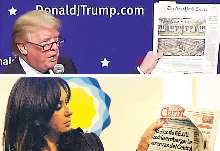 Enemigos de los diarios: Trump y Cristina vapuleándolos.