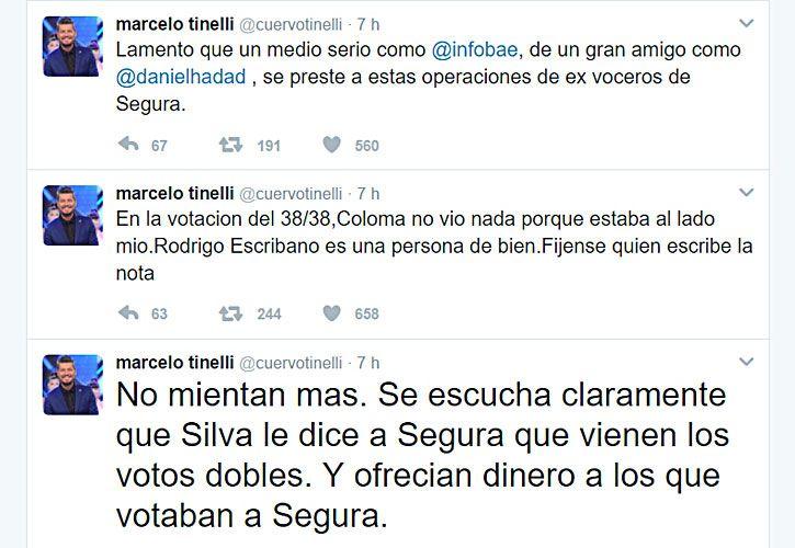 """Los tuits del escándalo. Tinelli salió a defender a Escribano, aliado suyo en la AFA, de las acusaciones que le hizo un ex dirigente de Quilmes. Y contraatacó: """"Ofrecían dinero a los que votaban a Segura""""."""