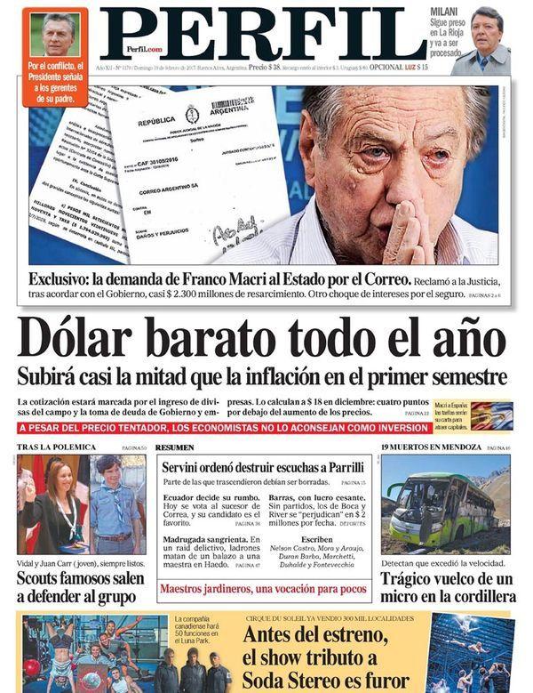 Tapa diario PERFIL 19/02.