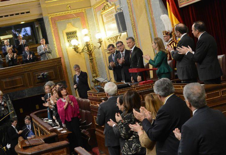 Macri en el Parlamento español.