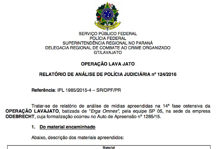 Documento oficial sobre IECSA en el Lava Jato por Odebrecht
