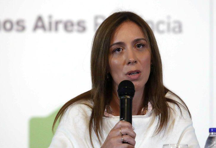 La gobernadora María Eugenia Vidal en conferencia de prensa.
