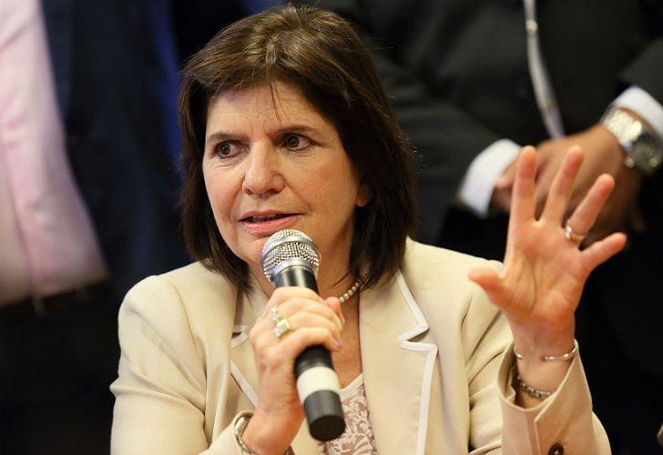 Patricia Bullrich, ministra de Seguridad, en conferencia de prensa.
