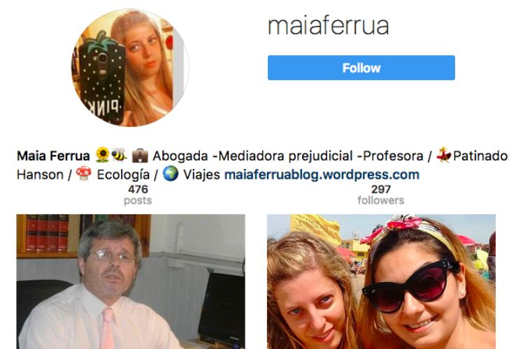 Descargo en Instagram de Maia Ferrua.