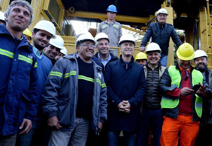 Macri, en las obras de la Línea Roca, en julio del año pasado.
