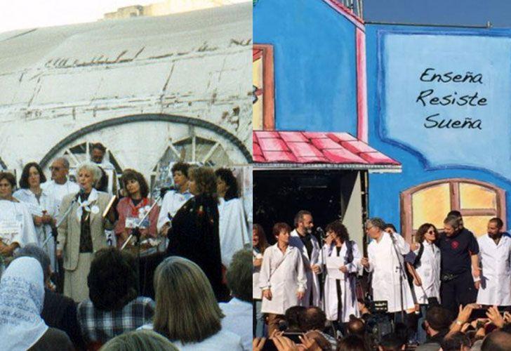 CARPA BLANCA EN 1997 Y ESCUELA ITINERANTE EN 2017. Ambas protestas del gremio docente, instaladas frente al Congreso para visibilizar cada conflicto.