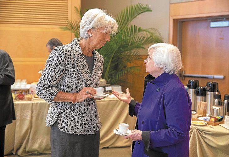 CAFE. Lagarde, del FMI, y Yellen, de la Fed, juntas en el Fondo.