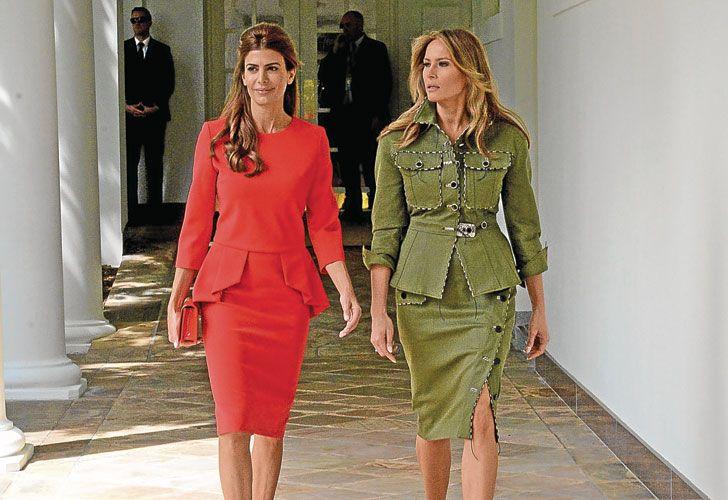 Modelos. Letizia y el vestido de Carolina Herrera, que usó en 2015 y en 2016. Awada con el de Ginebra, junto a Melania.