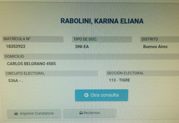 Karina Rabolini sigue viviendo en La Ñata