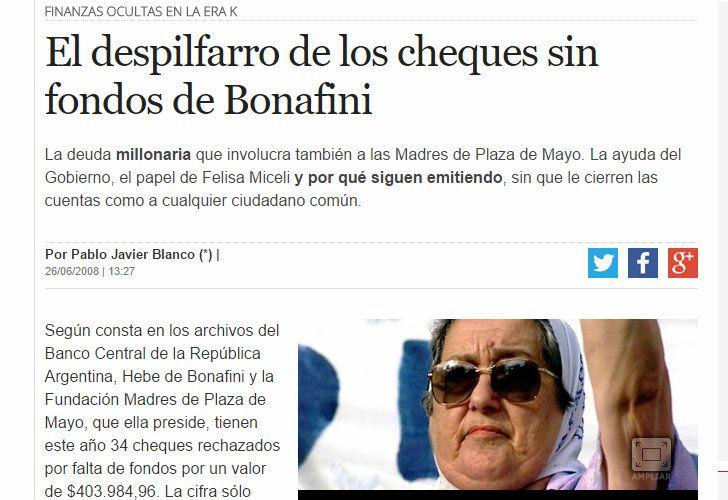 El artículo de Perfil.com sobre Hebe de Bonafini en 2008.