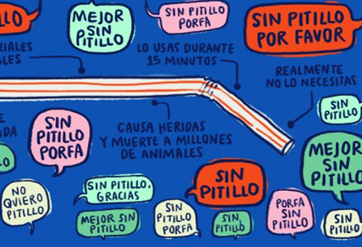 Avisos. En España, contra el pitillo –así llaman a las pajitas. Afiche de Australia y otro de Londres.