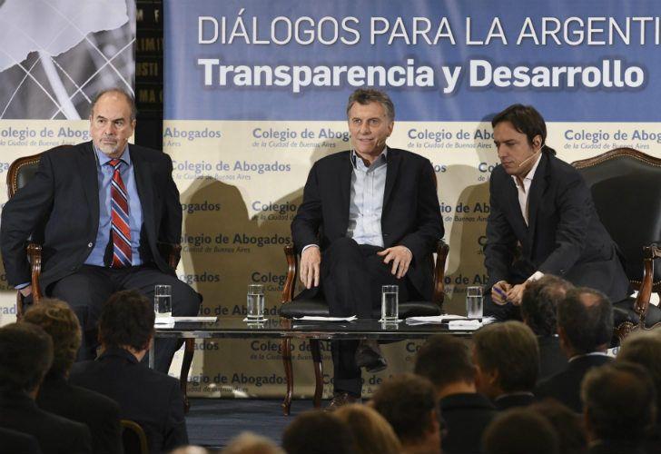 Mauricio Macri en la Bolsa de Comercio, durante el aniversario del Colegio Público de abogados.