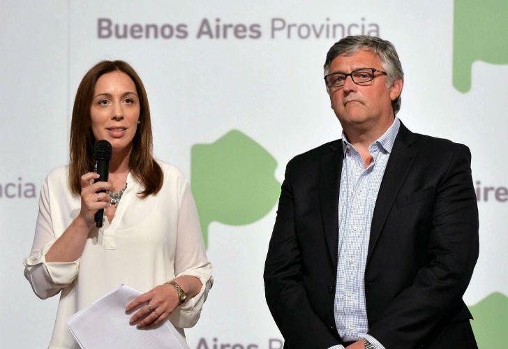 La gobernadoraMaría Eugenia Vidal y el ministro de Trabajo bonaerense, Marcelo Villegas.