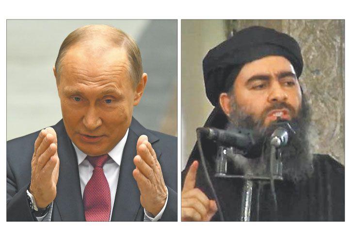Enfrentados. Putin fue informado del ataque. Desde noviembre no se sabe nada del jefe yihadista.